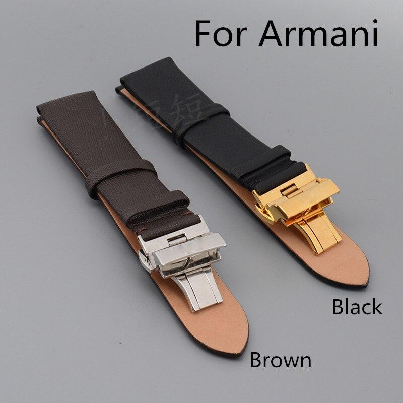 Luxury Band New 20mm 22mm Black Brown Genuine Leather Watchband Watch Strap For ArmaniAR1674/AR0382/AR0154 With Original Logo<br><br>Aliexpress