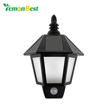 Waterproof LED Solar Light Motion Sensor Outdoor Activated Hexagonal Wall Lamp Garden Automatically ON at Night Path Lighting(China)