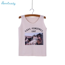Classic Retro Western photo pattern girls tanks tops causal women knitted top tees O-neck new design summer female clothes(China)