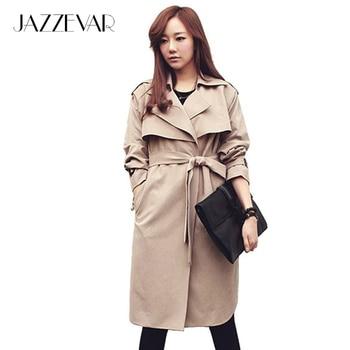 De JAZZEVAR nuevo otoño de la manera Ocasional de las mujeres Gabardina larga ropa de Abrigo ropa suelta para dama de buena calidad