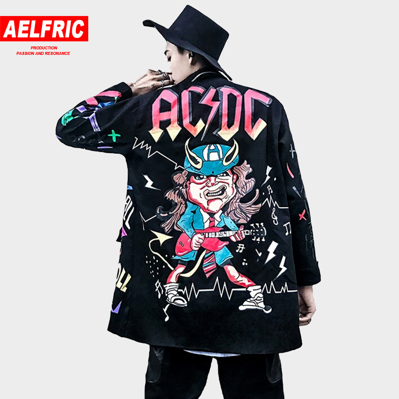 AELFRIC 2018 Autumn Winter Men Jackets Coats 3d Graffiti Print Hip Hop Outwear Fashion Windbreaker Rock Jacket Streetwear TR28