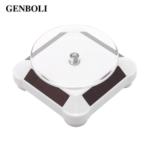 GENBOLI Solar Power/Battery 360 Degree Turntable Rotating Display Stand Watch Ring Necklaces Jewelry Stand Holder