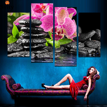 Unframed 4 Panels Purple Flowers black stone Picture Canvas Print Painting Artwork Wall Art Canvas Painting HD Print F1765
