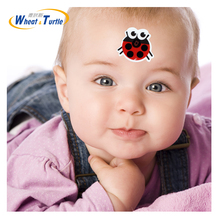 4PCS/Lot Baby Forehead Lcd Digital Thermometer Sticker Ladybug Cartoon Children Kids Health Care Medical Body Fever Thermometer(China)