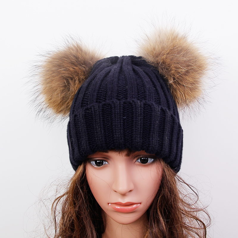 Mink and Fox fur Two Ball Cap Pom Poms winter hat for women girl s hat knitted beanies cap brand new thick female capОдежда и ак�е��уары<br><br><br>Aliexpress