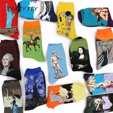 Fashion Retro Abstract Oil Painting Art Socks Men And Women Novelty Patterned Harajuku Design Sox Calcetine Van Gogh Novelty