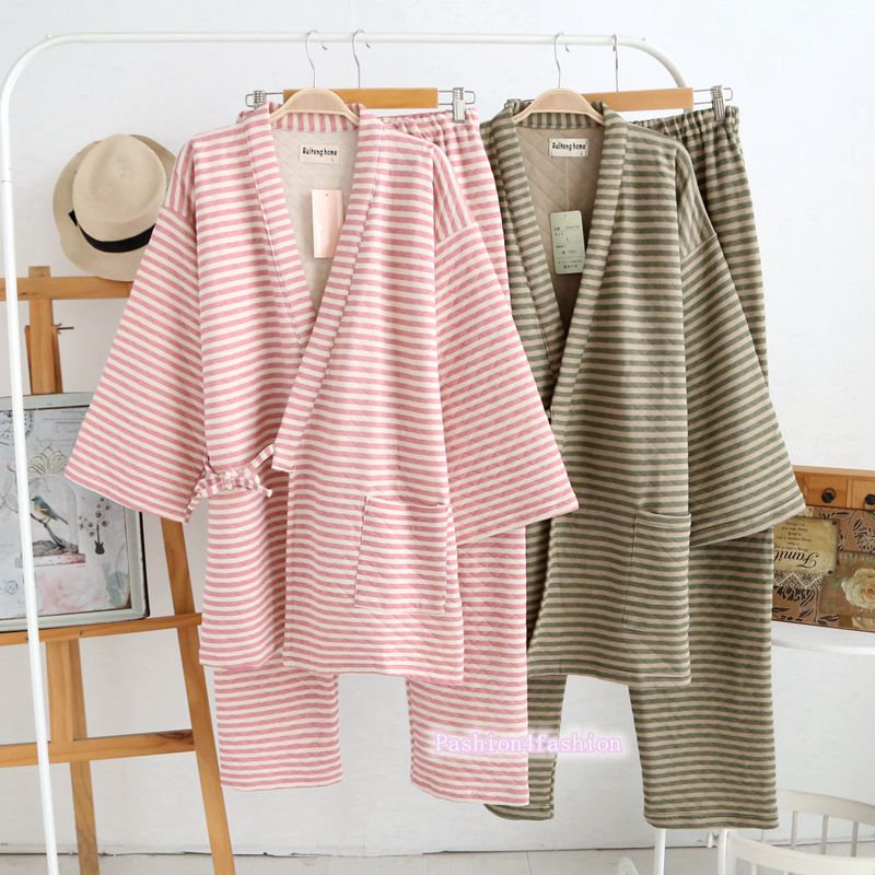 Men Women Kimono Pajamas Suit Couple Bathrobe Top Pants Stripes Cotton Warm Thick Winter
