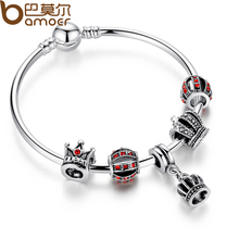 BAMOER Simple  Silver Charm Bangle & Bracelet with Royal Crown Pendant & Red Crystal Ball Dropshipping PA3067