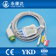 One piece 3 lead ECG cable with leadwire for Kontron with IEC,Clip(China)