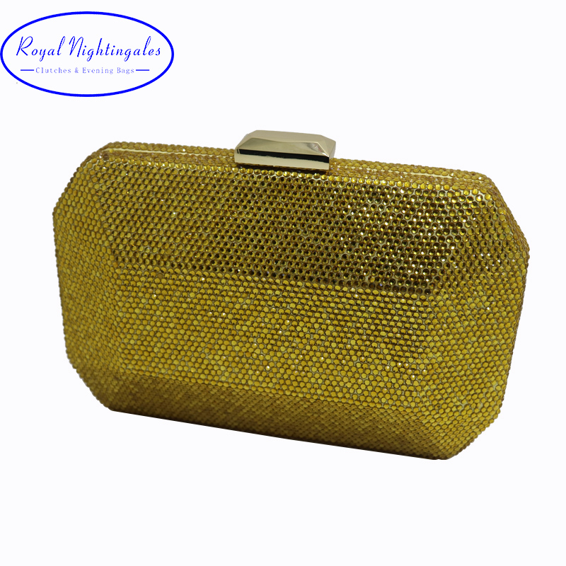 Oversize Gold and Bronze Hard Clutches Crystal Evening Bags for Prom Evening Party <br>