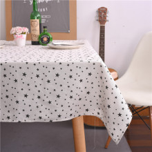 DAXIAOBU Cotton Linen Print Black Stars Customed Tablecloth Cover Table Deco White Bottom 17317a