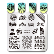 BORN PRETTY Square Stamp Plate Vehicle Car Design Stamping Template 6*6cm Manicure Nail Art Image Plate BP-X29(China)