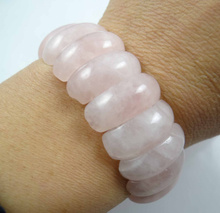 Natural Rose Quartzs bracelet energy Bangles Stretch Chain Natural Stone inradius chunky Bracelets Jewelry P22(China)
