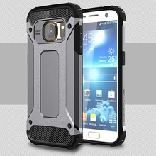 [Long Steven]For Samsung S7 Case Unique Armor Anti-Knock Bumper Attached Dust Cap Cover For Samsung Galaxy S 7 Case G9300 Funda