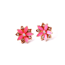Six Pairs Crystal Flower Stud Earrings Set Bright Colours pusety jewelry alloy and enamel with rhinestone assorted colors
