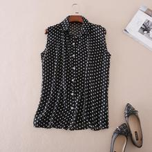 Buy Fashion Summer Shirt Women 2017 Casual Chiffon Sleeveless Polka Dot Turn-down Collar Blouse Plus Size Women Clothing Tops for $9.81 in AliExpress store