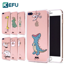 KEFU 2017 new arrivals for funda iPhone 6S case 5 5S 6 6S 7 8 Plus X Cute Dinosaur soft silicone TPU cover for iPhone 7 case(China)