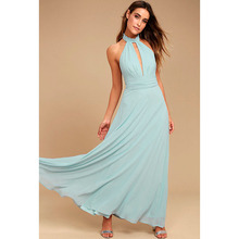 Hot Sale New Style 2017 Women Dress Elegant Bohemian Beach O-Neck Sexy Sleeveless Maxi Dress Chiffon Halter Long Party Dresses