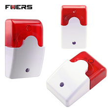Fuers Wired Indoor Wired Siren Red light Siren Flash Sound Alarm Systems Security Home Strobe Mini Siren Sound For Home Security