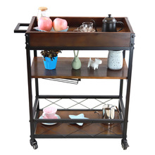 YONTREE Mini Bar Serving Cart Hotel Outdoor Patio Dining Car with Wheels Mobile Wine Glasses Holder Stock in US(China)