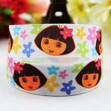 7/8'' (22mm) Dora Cartoon Character printed Grosgrain Ribbon party decoration ribbons OEM X-00817 10 Yards