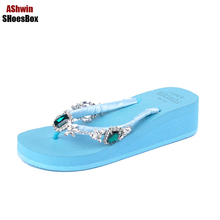 glitter rhinestone flip flops flat heel home handmade blue mules clogs fancy shoes women hawaiian sandals walking shoes 35-39(China)