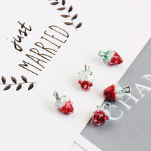 Buy 2017 Summer 30pcs/lot alloy drop oil silver tone Fruit style cartoon 3D Strawberry shape floating locket pendants charms for $15.29 in AliExpress store
