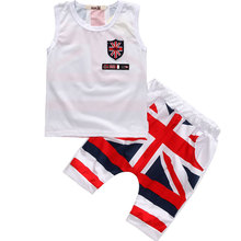 Boys Baby Suits Kit Flag Vest Shirt and Pants Set Badge Fashion Children's Clothing Set Apparel Summer Hot Sale