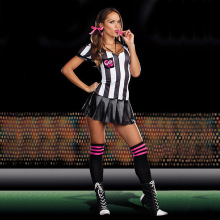 Eurocup white and black strip referee bambino cheerleader Costumes sexy Football Girls cosplay halloween vestito esotico dress