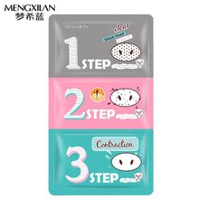MENGXILAN Removing Blackheads Acne Shrinking Pores Pig Nose Paste mask Three Steps for Women Health Beauty Skin Care(China)