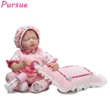 Pursue Sleeping Reborn Babies Pink Silicone Baby Dolls for Sale American Girl Doll for Girls Boys Mini Toys Baby Doll 55cm 22""