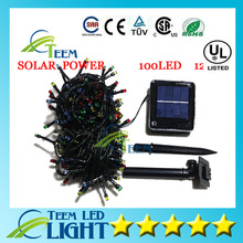 Free Ship Solar Power Blue Yellow White Colors Lights String Garlands 100 LEDs Garden Christmas Party String Fairy Lamps X10