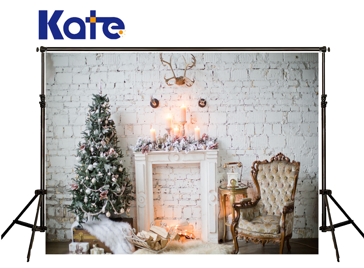 KATE Backdrop Photography Christmas White Brick Wall Wood Photo Backdrops Decorative Fireplaces Background for Photo Studio<br>