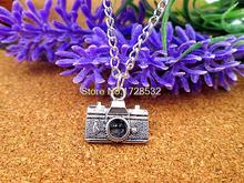 fashion 15*14mm antique silver plated camera pendant necklace(China)