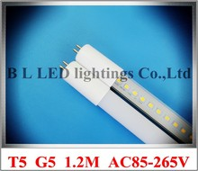 AC85-265V input LED tube lamp T5 fluorescent LED bulb tube G5 1.2M 1200mm 4FT SMD2835 120led 20W 2400lm T5 aluminum CE