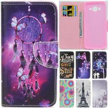 Luxury Cute Cartoon Dream Butterfly Net Tower Leather Flip Fundas Case For Samsung Galaxy J3 J5 2015 J300 J500 J300F J500F Cover
