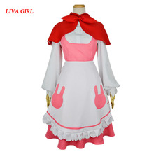2017 Adult The Little Match Girl Sweet Pink Dress Cosplay Red Cloak Dress Sexy Game Uniform Halloween Costumes(China)