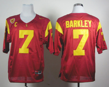 Nike Jersey USC Trojans Matt Barkley 7 Red C And PAC-12 Patch College Jersey Ice Hockey Jerseys M,L,XL,XXL,3XL(China)