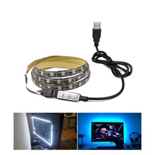 RGB Led Light Strips USB Powered Flexible LED Rope Lights Lamp SMD 5050 Mini 3Key Control LCD Screen HDTV Backlights Home Decor