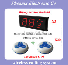 Restaurant Wireless Ordering System for Waiter Service Calling Paging (2 Menu display and 20 Table Bell Button)(China)