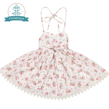 Baby Girl Dress 2017 Summer Children Girls Rose Floral Dresses Kids Princess Bowknot Party Dress Toddler Clothes for 1-8yrs