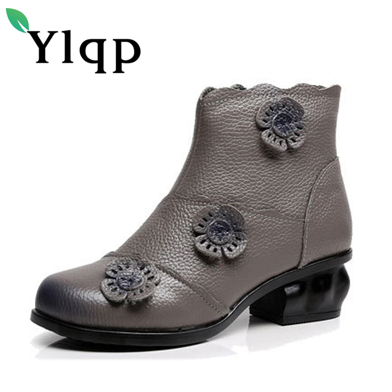 Ylqp Brand New Vintage Winter Genuine Leather Ankle Boots for Women Soft Warm Shoes Female Retro Handmade Boots Sapato Feminino<br>