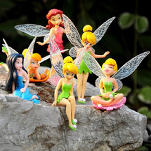 6Pcs/lot Anime Tinkerbell Fairy Figure Toy Tinker Bell PVC Action Figures Dolls Wedding Decoration 5~10cm Great Gift(China)