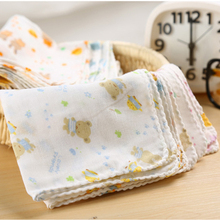 10PCS Baby Feeding Towel Teddy Bear Bunny Dot Chart Printed Children Small Handkerchief Gauze Towels Nursing Towel YYT308