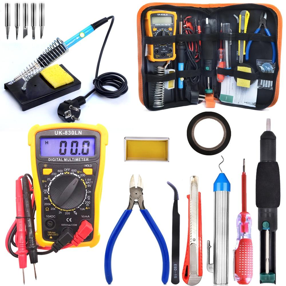 60W Adjustable Temperature   Soldering Iron Kit, Upgraded Welding Kit for Various Repair- Digital Multimeter, Screwdriver,tools<br>
