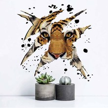 Creative personality broken 3d tiger wall stickers home decoration office cafe bar decoration decals PVC removable stickers(China)