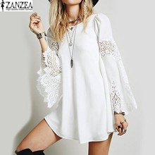 Vestido 2017 ZANZEA Womens Hollow Out Flare Sleeve Lace Crochet Splice Loose Solid Elegant Sexy Party Casual Mini Shirt Dress