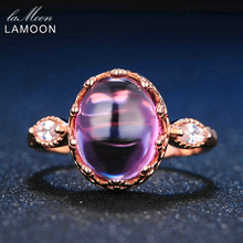 LAMOON 10x8mm 100% Natural Amethyst 925 Sterling Silver Jewelry Rose Gold Purple Gems Retro Ring For Gift Girlfriend LMRI022
