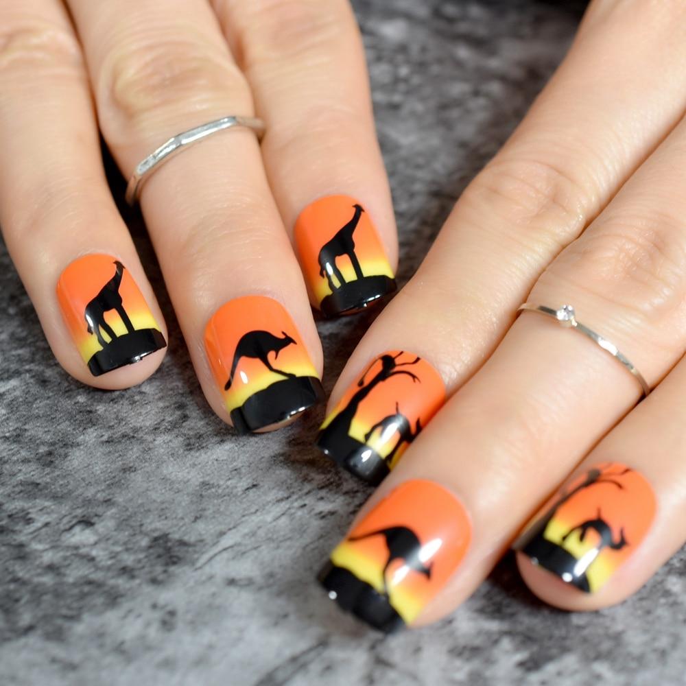 Harajaku Orange Short Nail Art Tips Animals Design Kit Full Cover ...