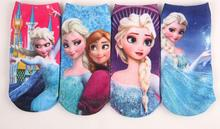 4pairs/lot cotton baby novelty  toddler children cartoon socks girls kids Princess Elsa 3D printed calcetines Brand ankle socks